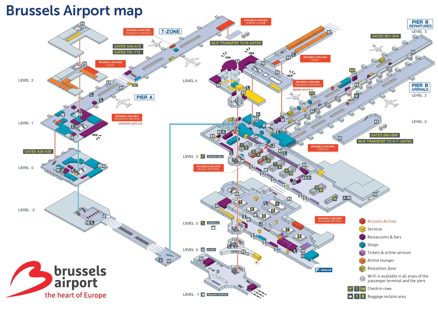 Brussels Airport Map - Brussels on world map