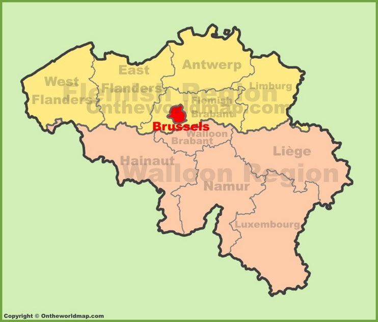 Brussels location on the Belgium Map