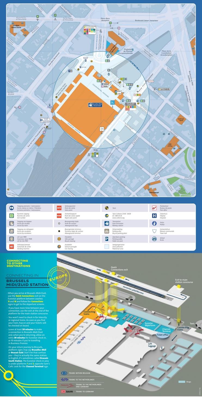 Brussels Midi train station map
