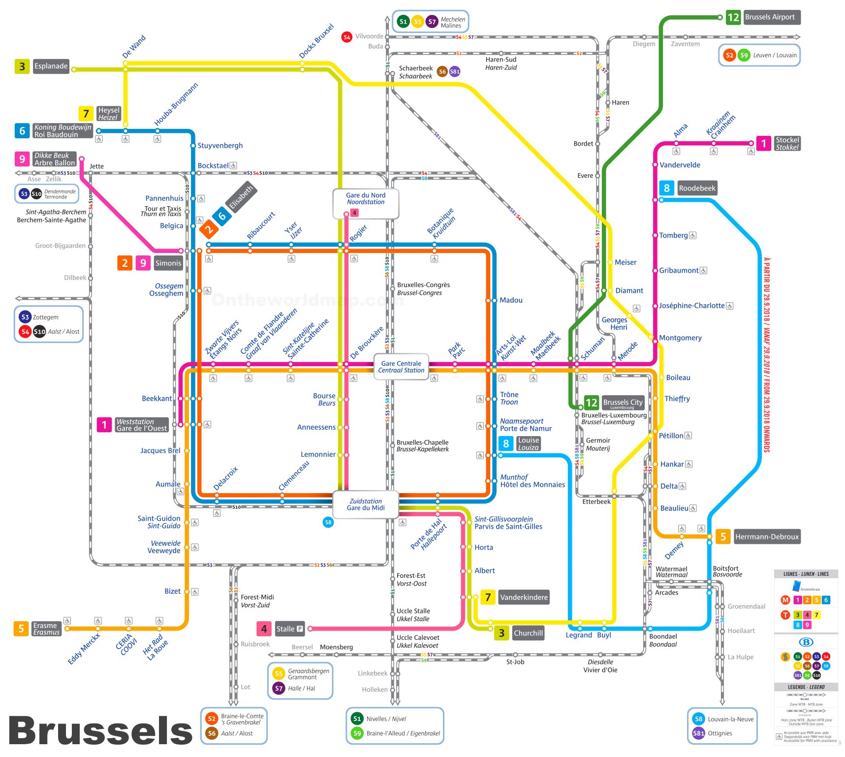 Maps Update 1000620 Train Map Brussels UrbanRailNet Europe – Train Map of Belgium