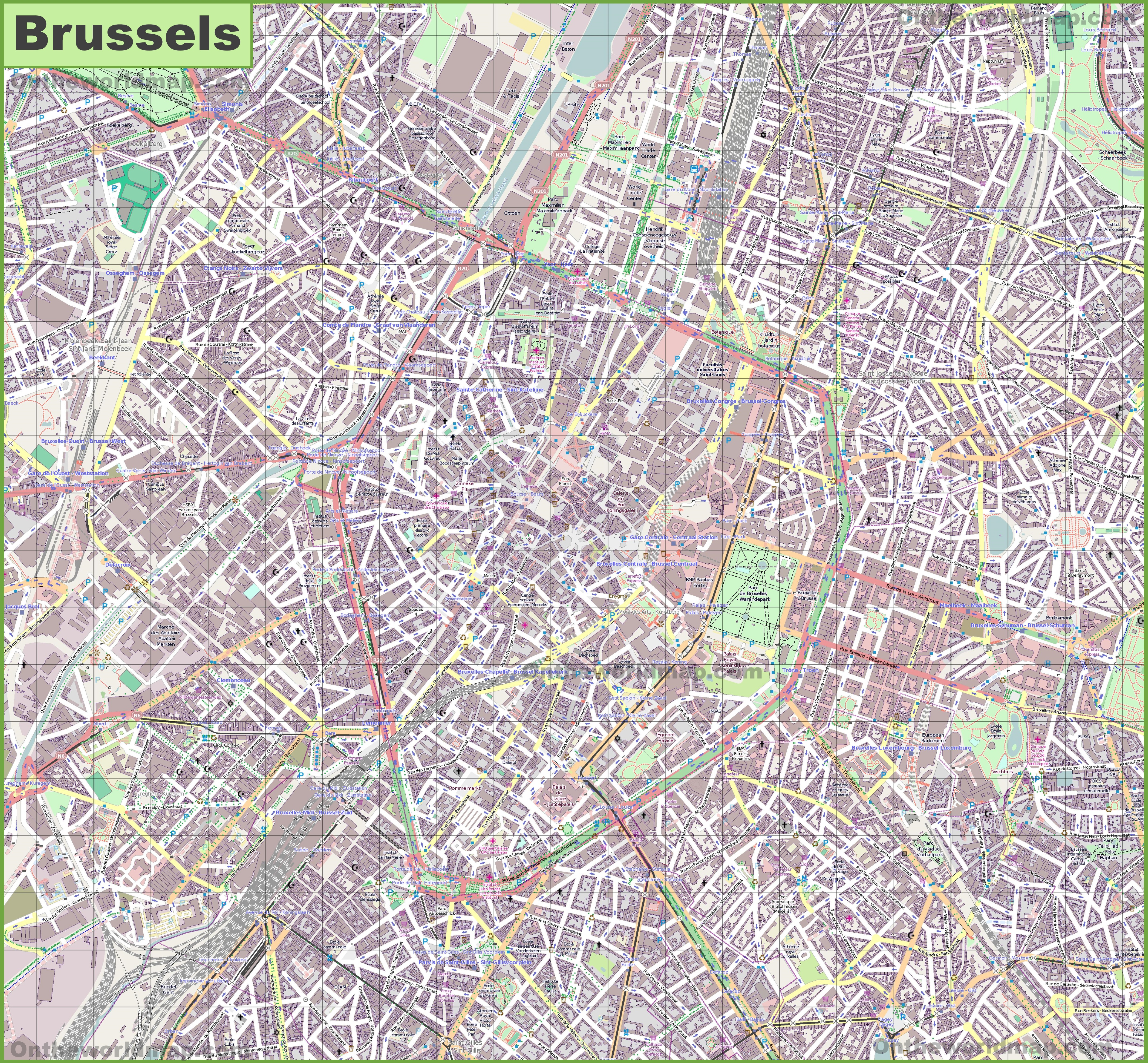 Large detailed map of Brussels