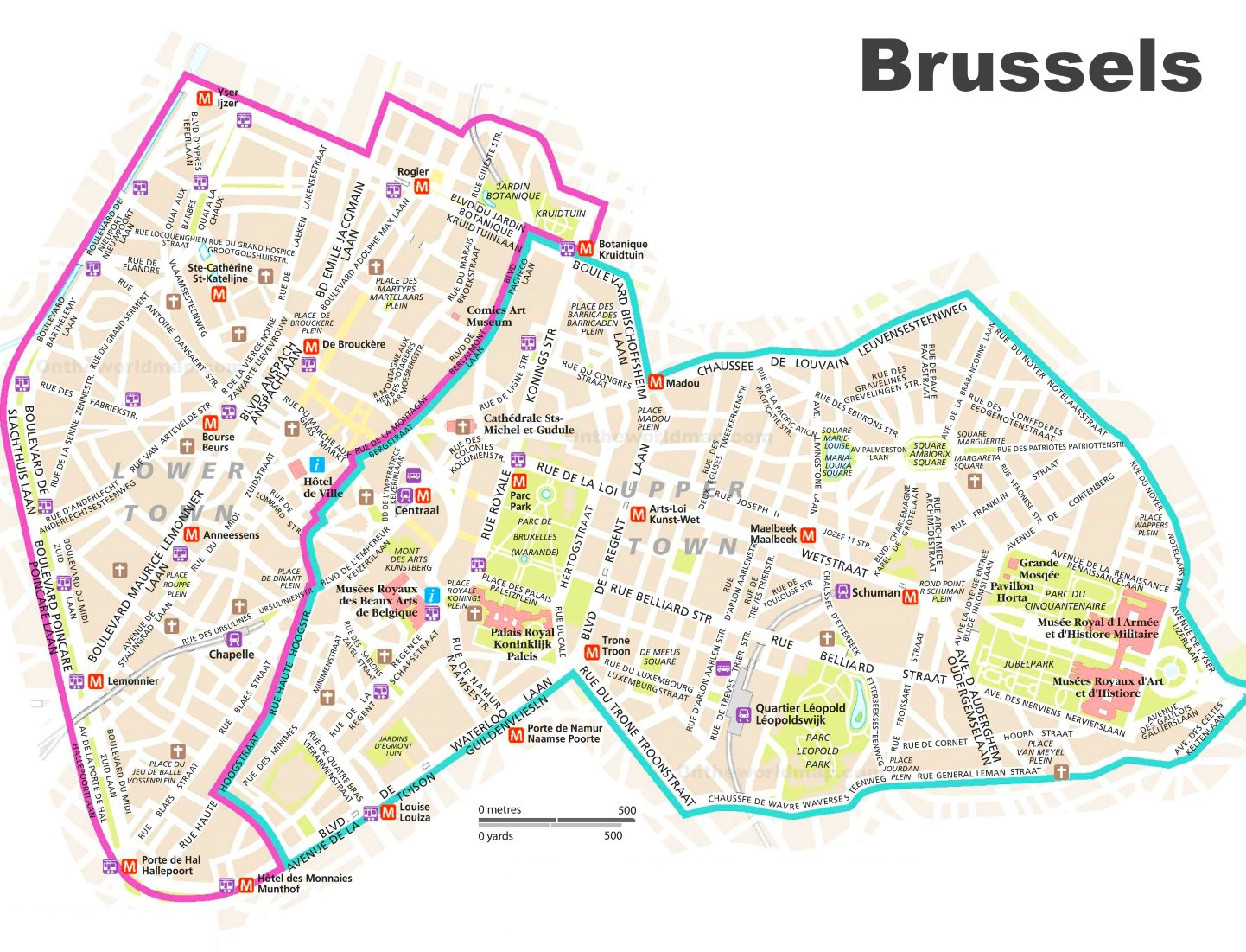 Tourist Map of Brussels City Center