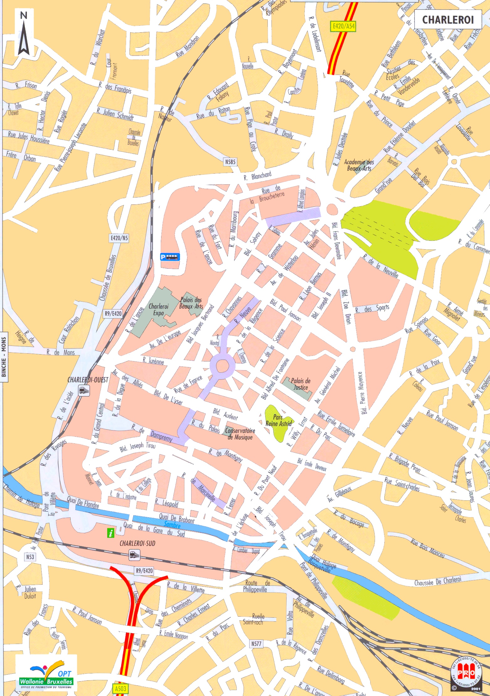 charleroi tourist map