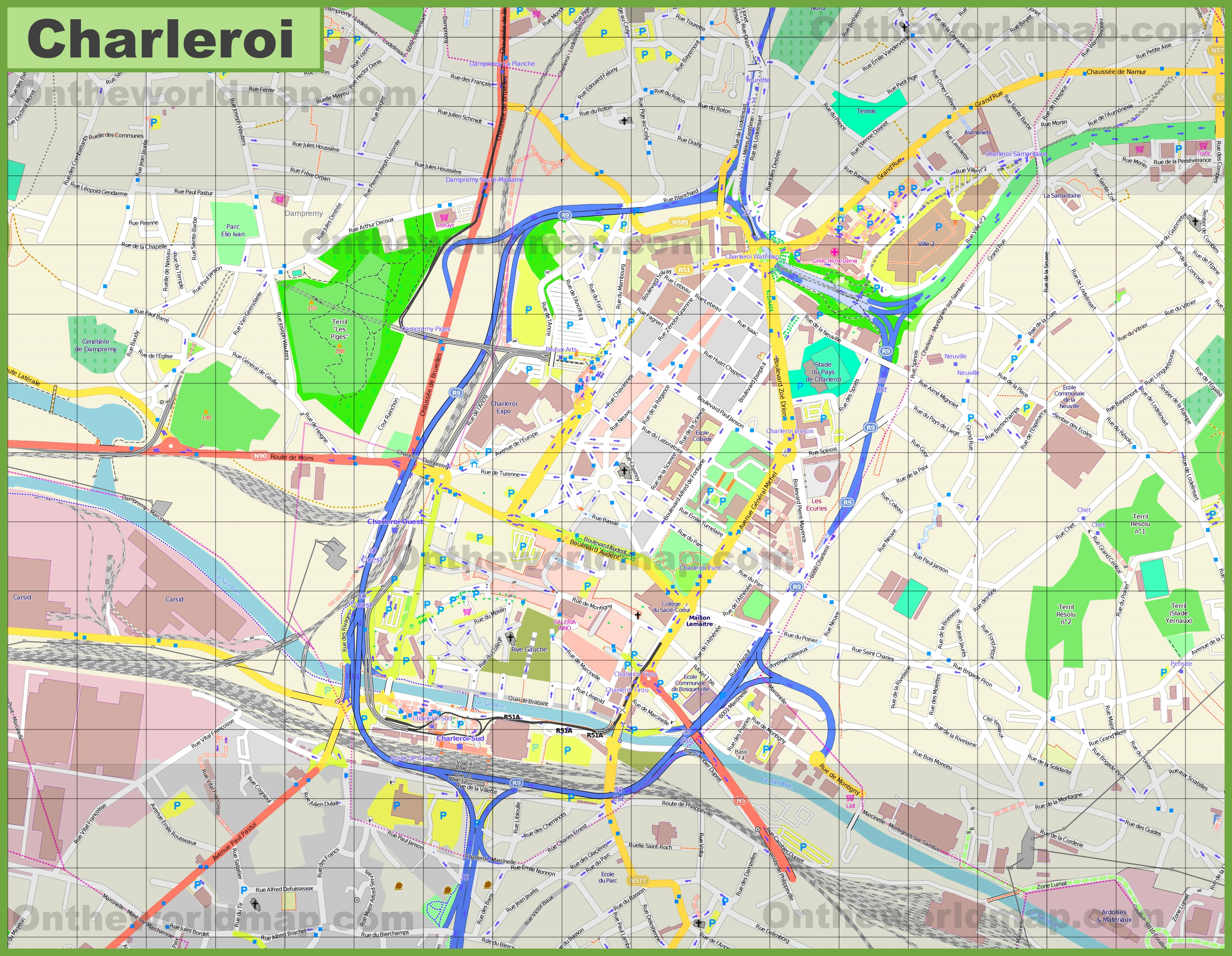 Large detailed map of Charleroi