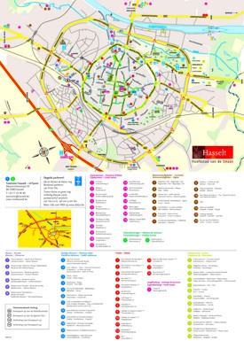 Hasselt hotels and sightseeings map