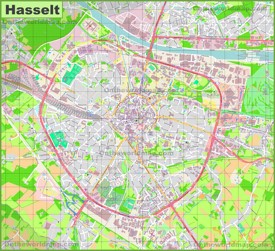 Large detailed map of Hasselt