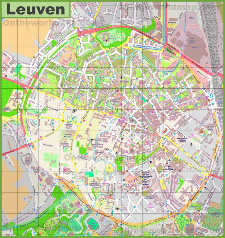 Large detailed map of Leuven