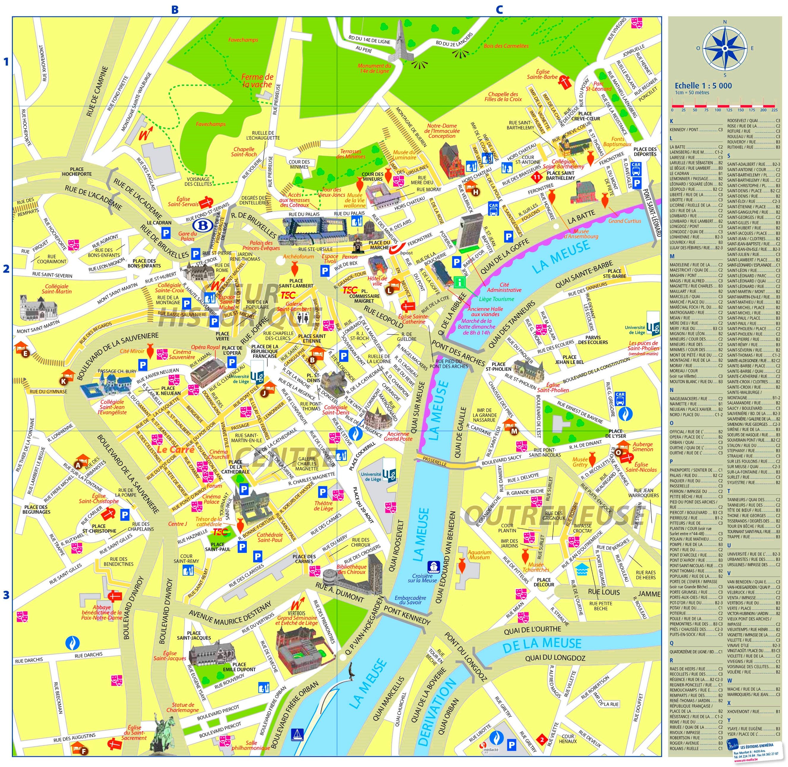 Lige city center map