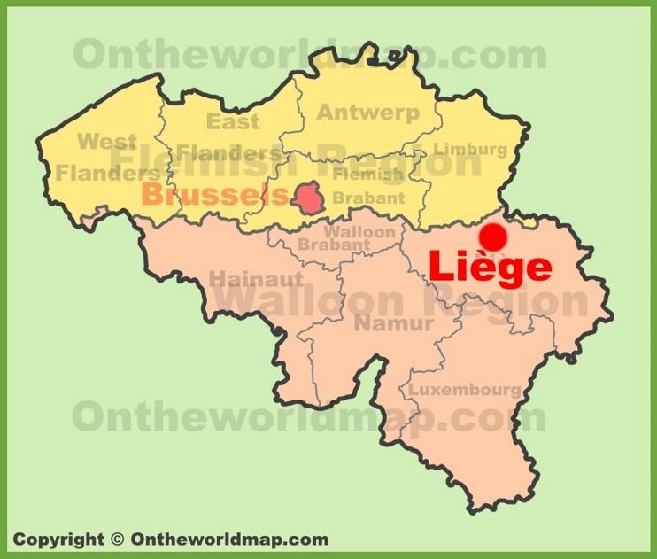Liège location on the Belgium Map