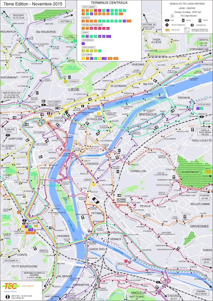 Liège transport map