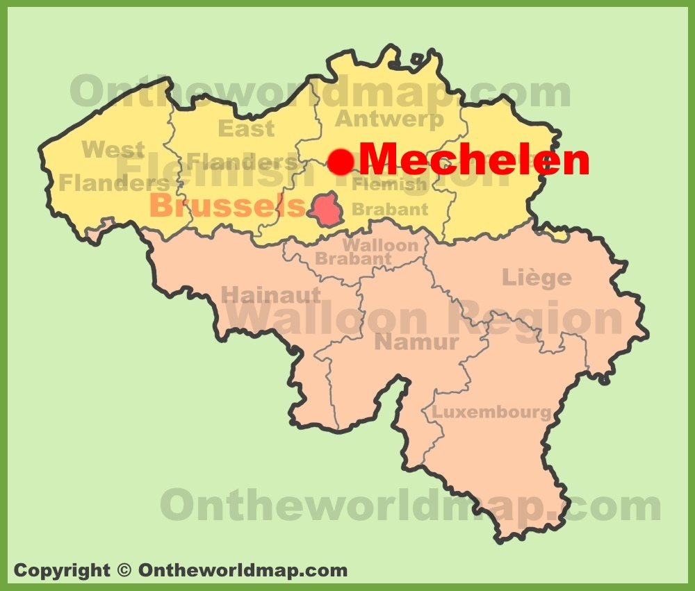 Mechelen location on the Belgium Map