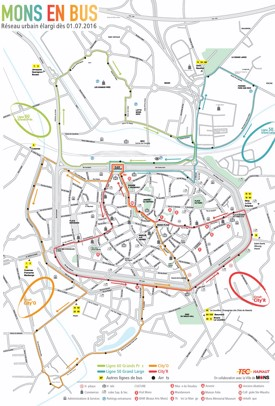 Mons hotels and sightseeings map