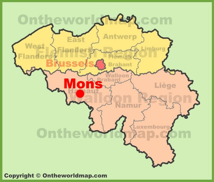 Mons location on the Belgium Map