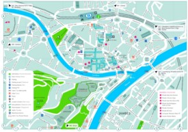 Namur hotels and sightseeings map