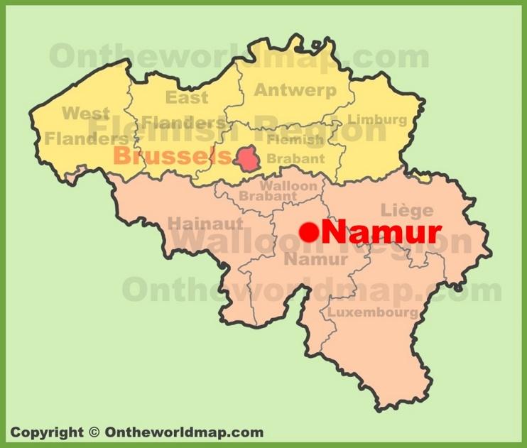 Namur location on the Belgium Map