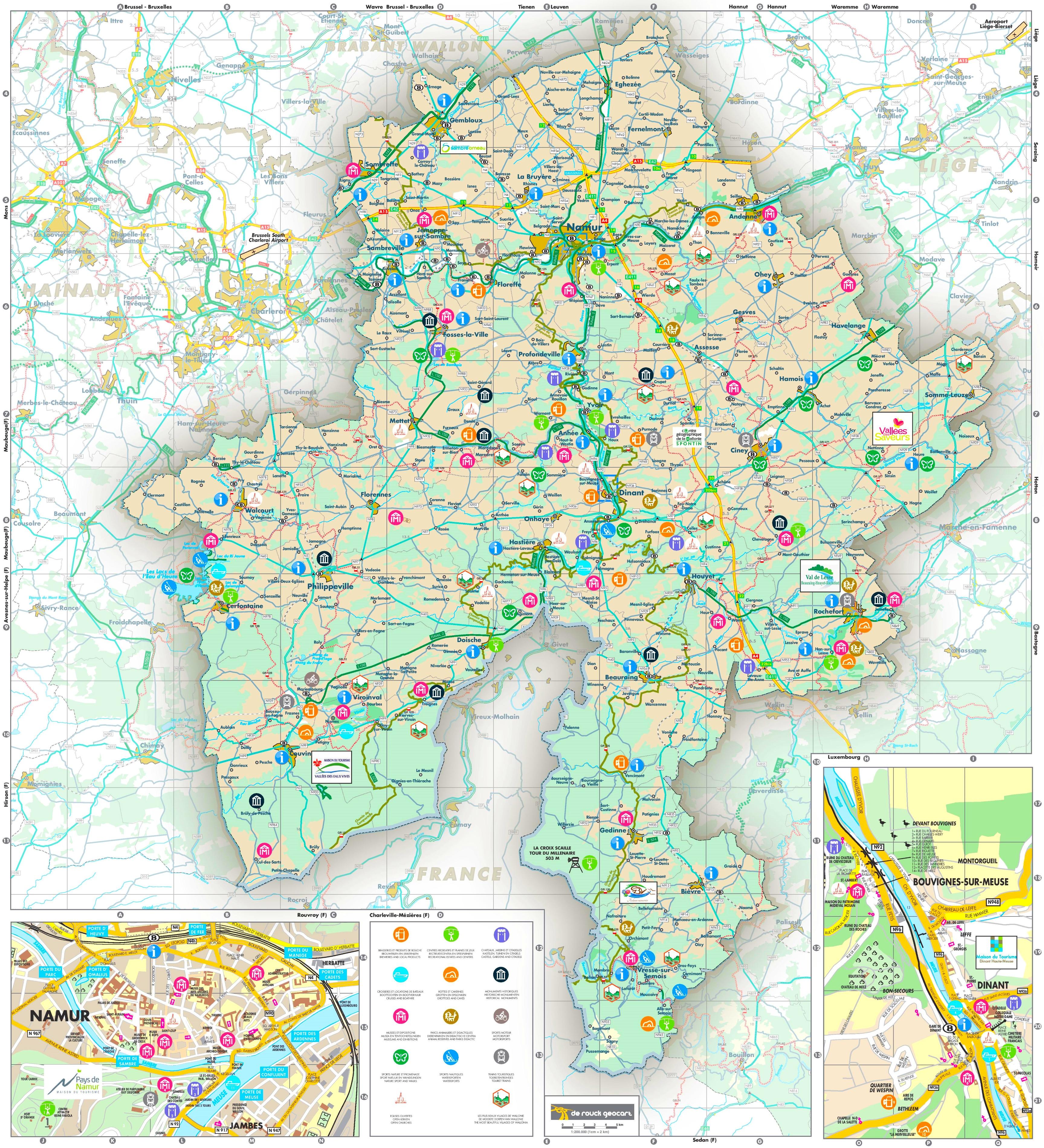Namur province tourist map