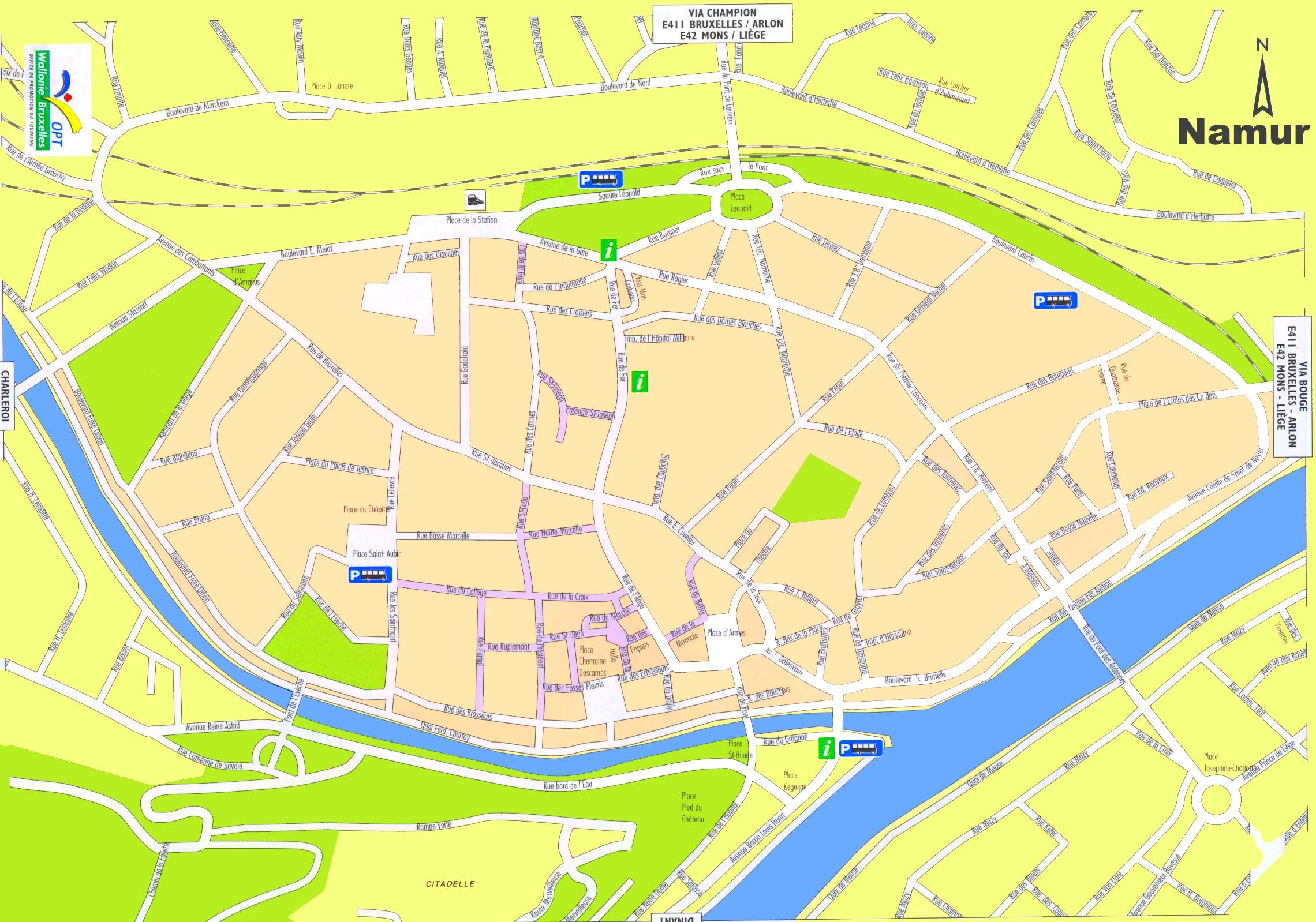 Namur tourist map
