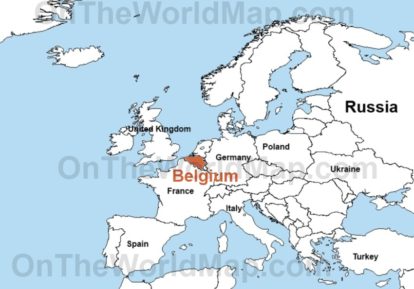 Belgium on the World Map Belgium on the Europe Map