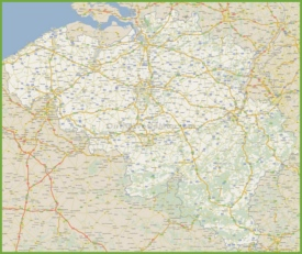 Large detailed road map of Belgium