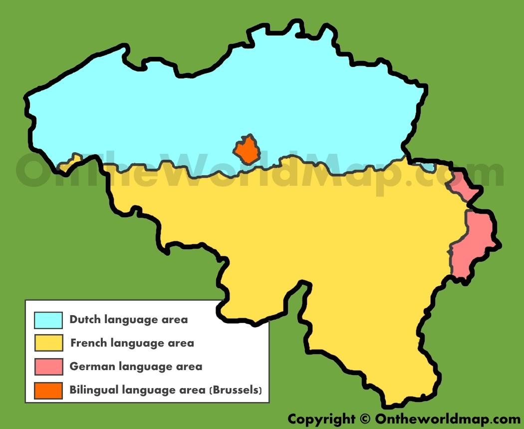 Belgium Language Map Map of languages in Belgium