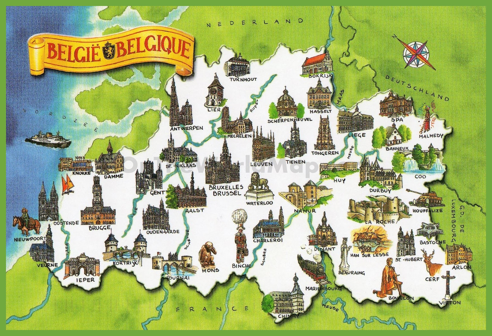 Tourist map of Belgium – Map of Belguim