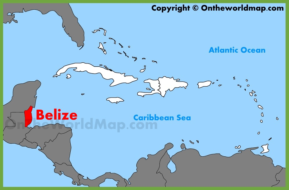 Belize Map Location Belize location on the Caribbean map Belize Map Location