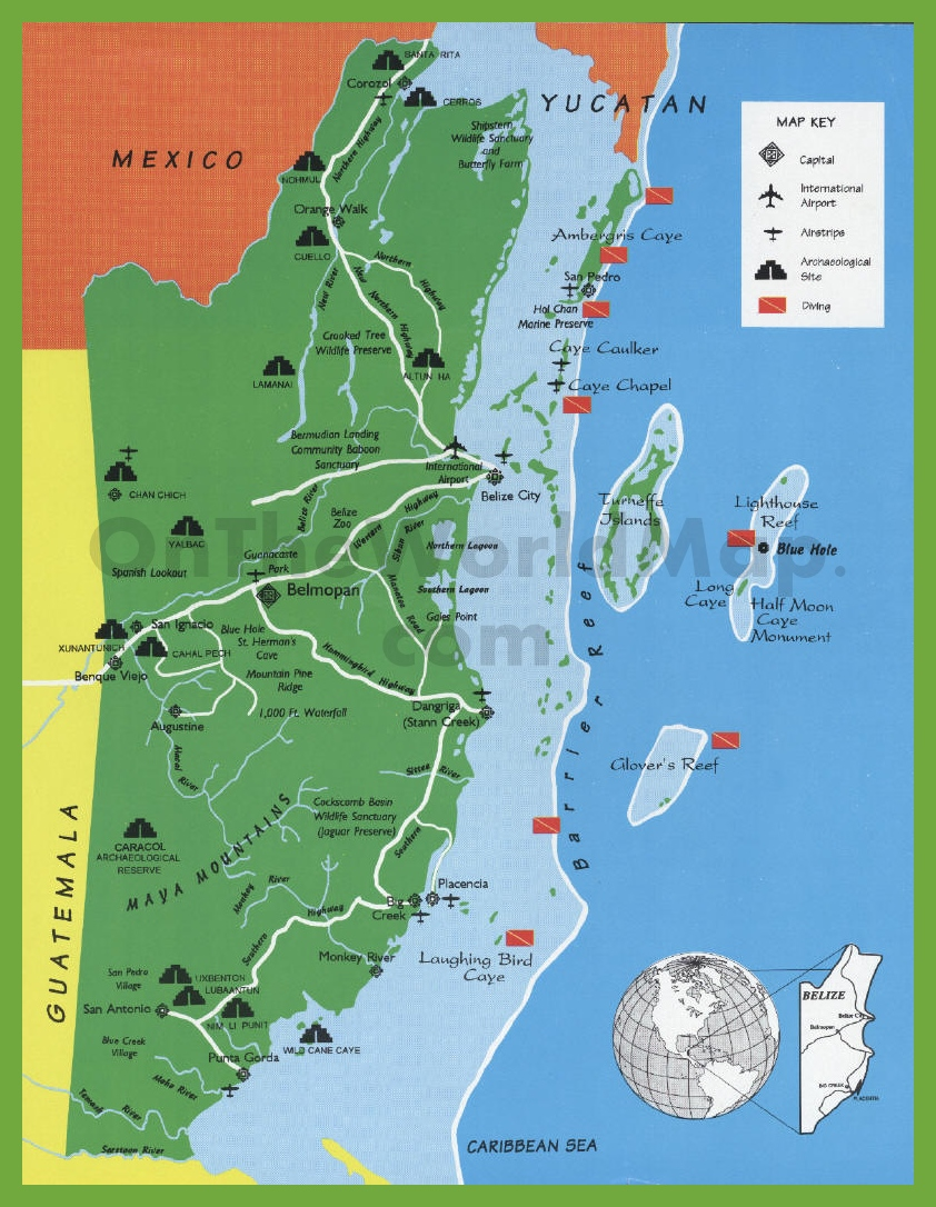 Belize tourist map with sightseeings