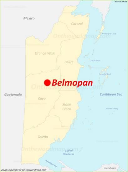 Belmopan Location On The Belize Map