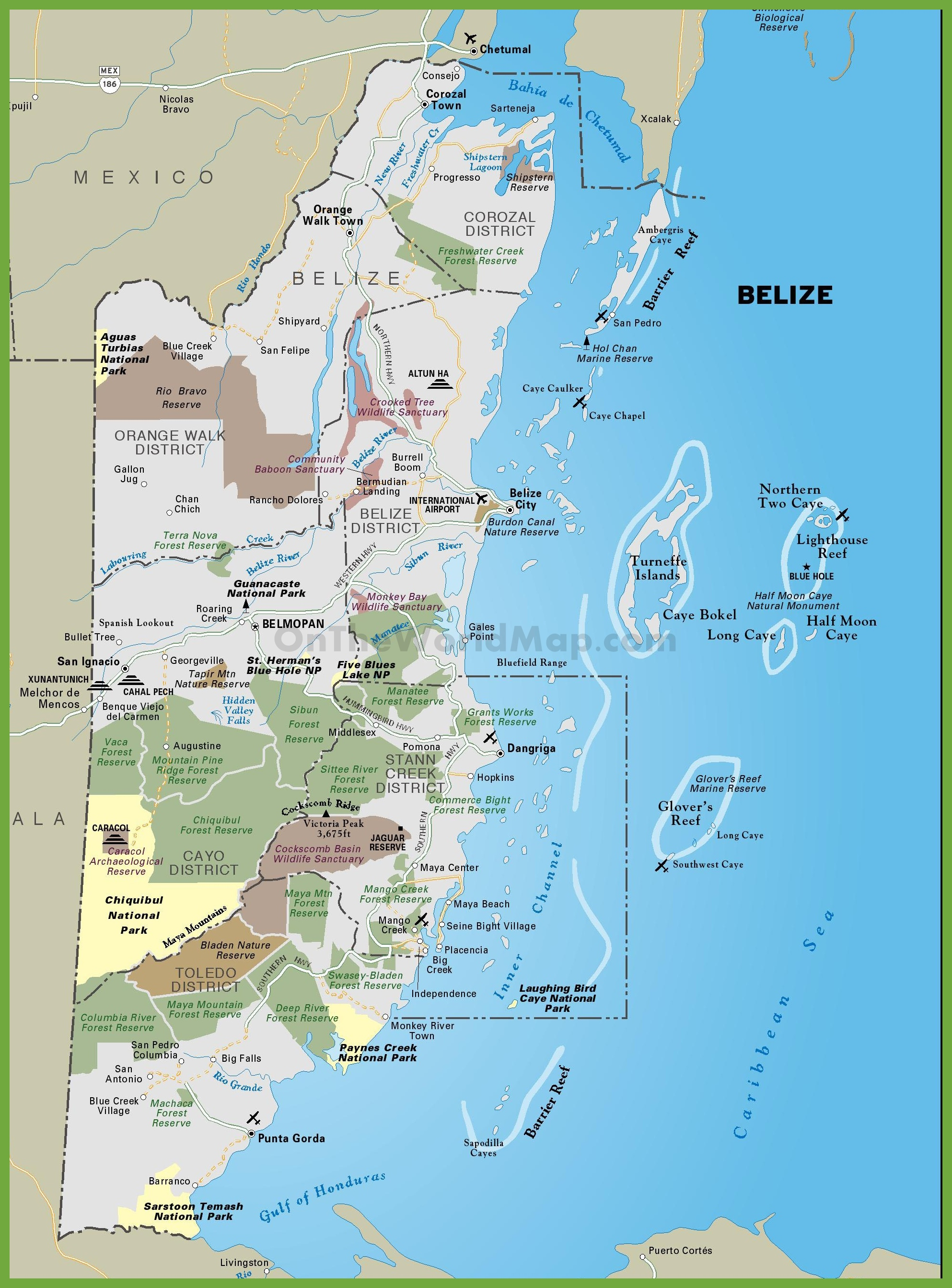 Tourist map of Belize