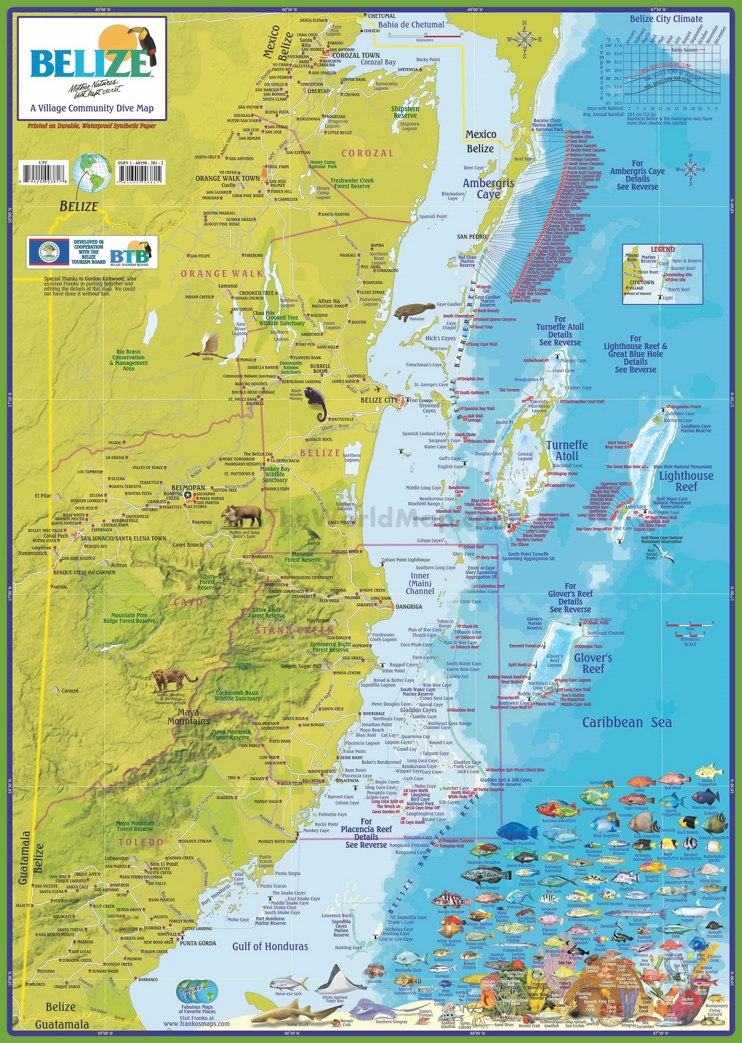 Travel map of Belize