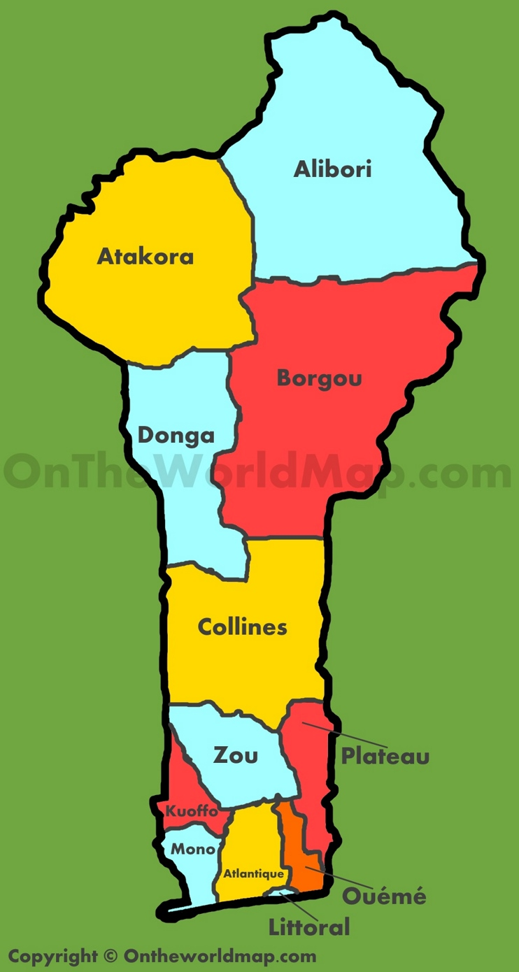 Administrative map of Benin