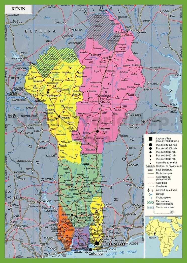 Benin political map