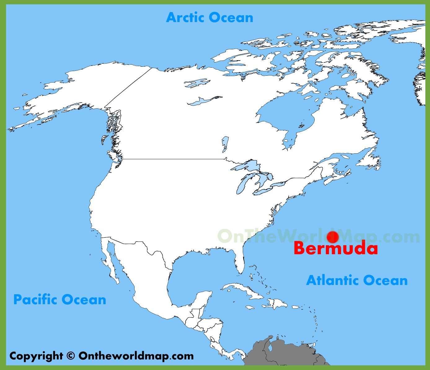 Bermuda On A Map Bermuda location on the North America map Bermuda On A Map