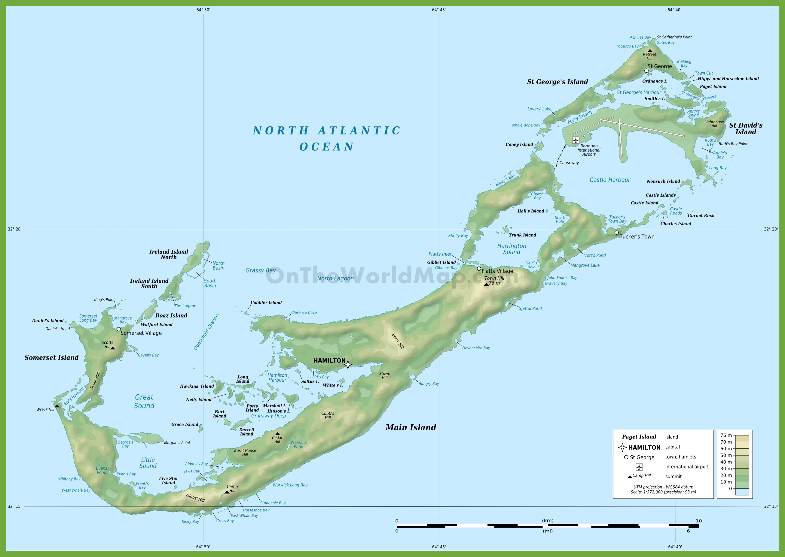 Bermuda Physical Map - Physical map of jamaica
