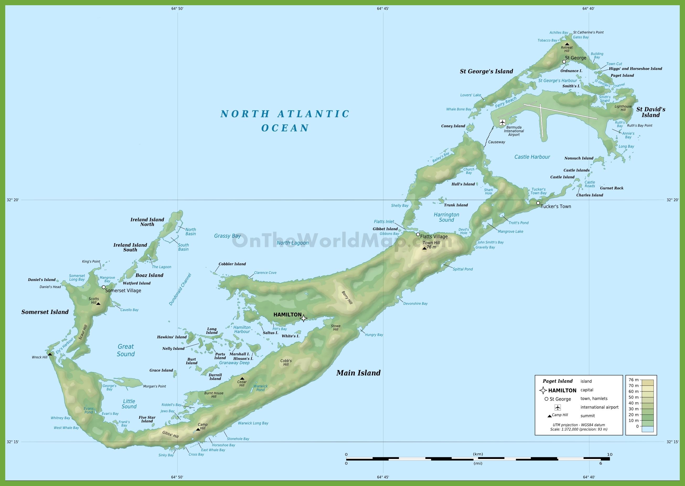 Bermuda physical map