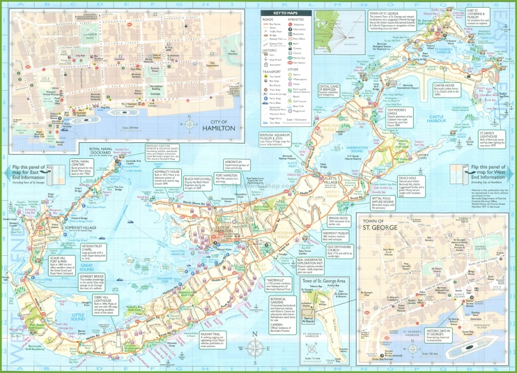 Large detailed tourist map of Bermuda