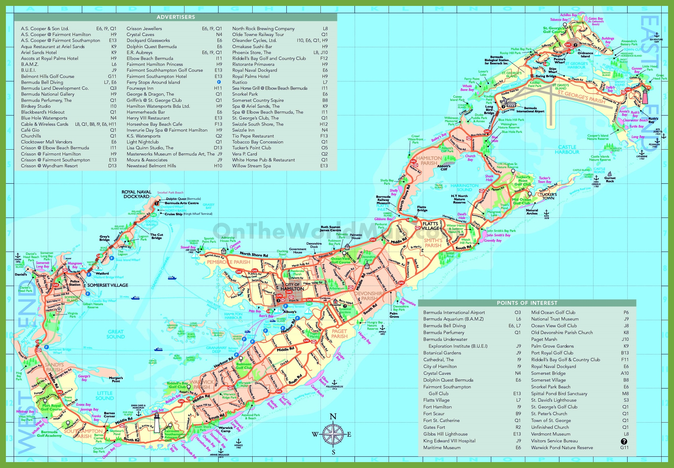 Map Of Bermuda Travel map of Bermuda with attractions Map Of Bermuda