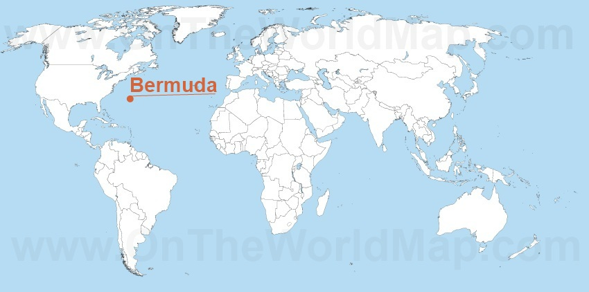 Bermuda on the World Map Bermuda on the North America Map