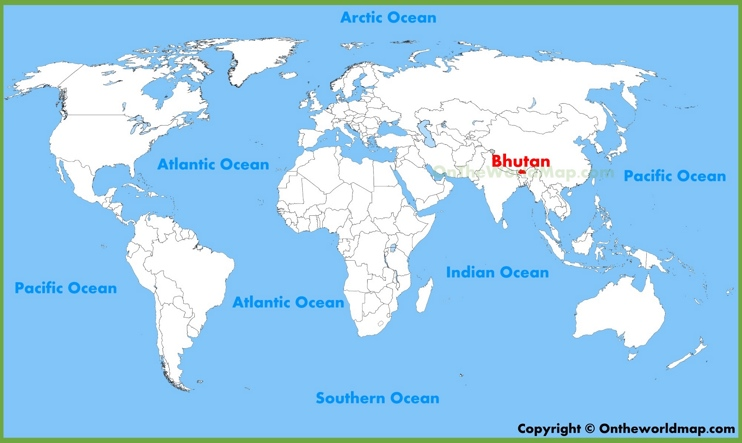 Bhutan location on the World Map