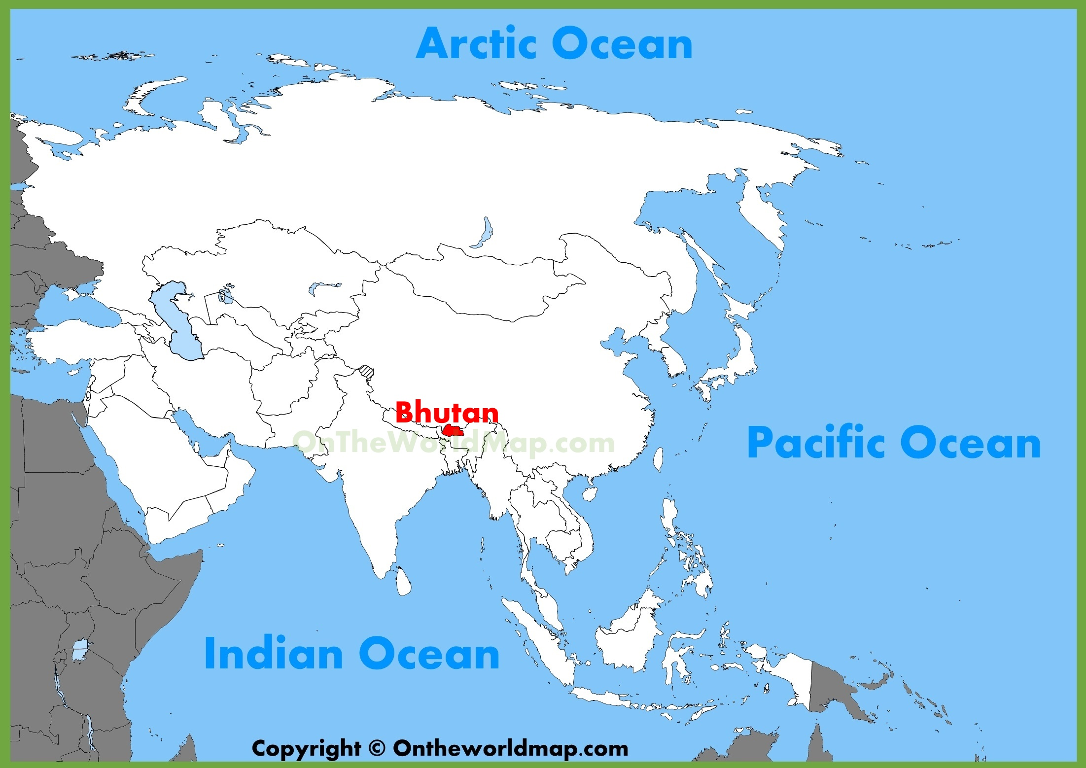bhutan location on the asia map -