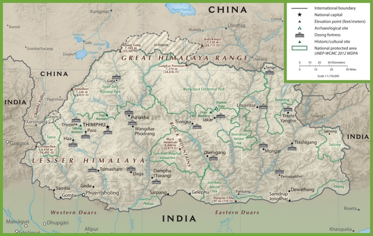 Bhutan physiographic map