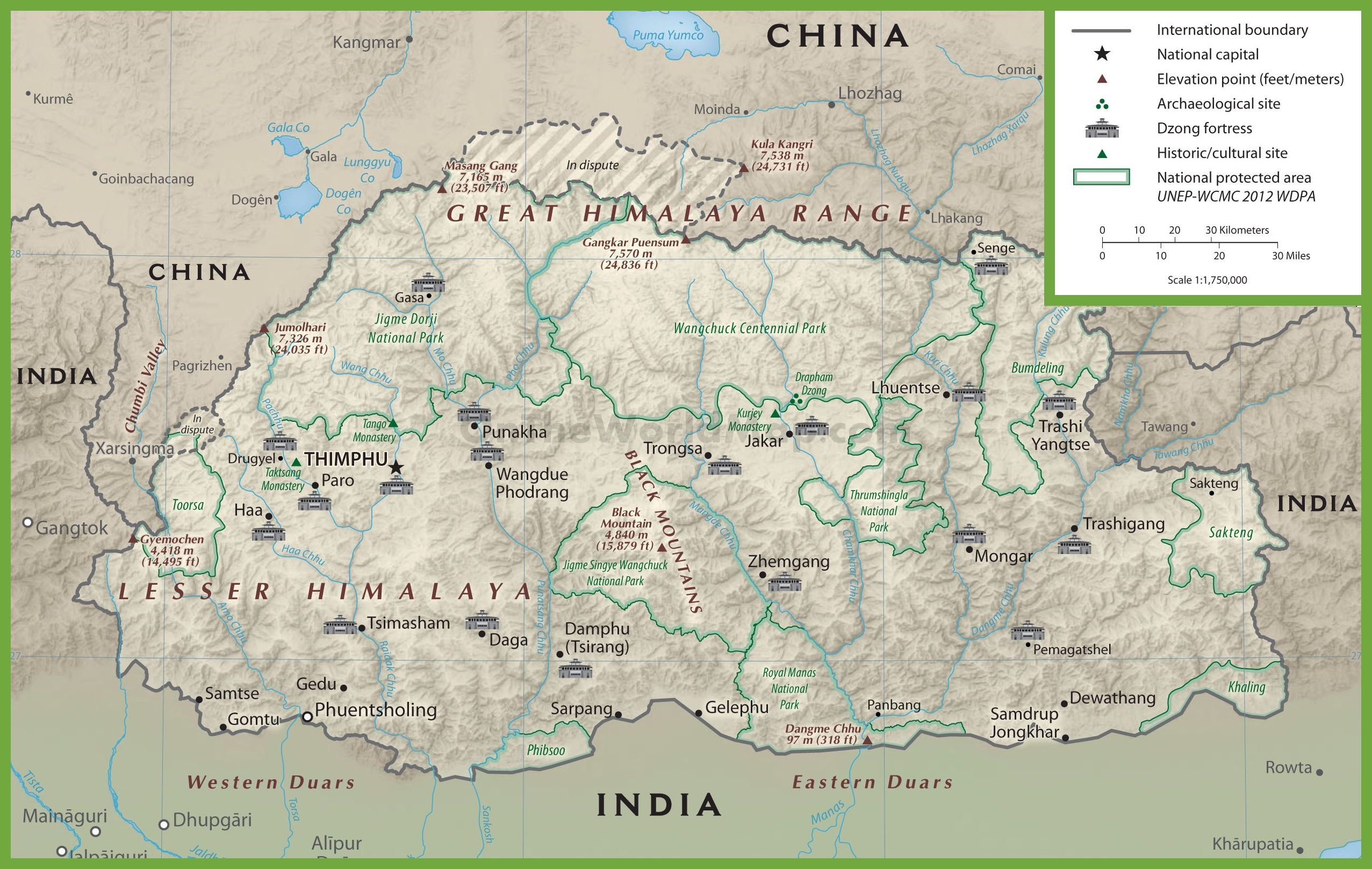 bhutan maps  maps of bhutan - bhutan physiographic map