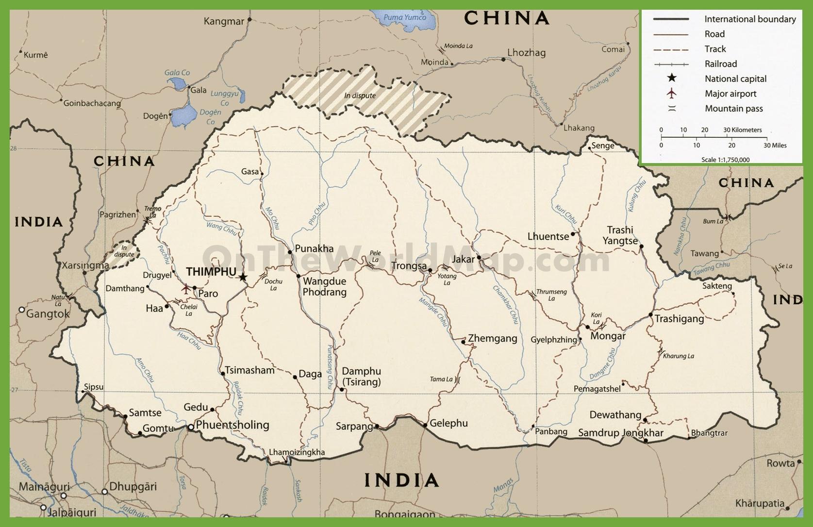 Bhutan Maps | Maps of Bhutan