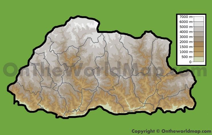 Physical map of Bhutan