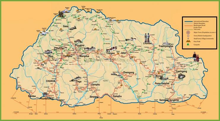 Tourist map of Bhutan