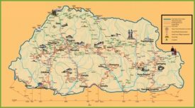 Tourist map of Bhutan