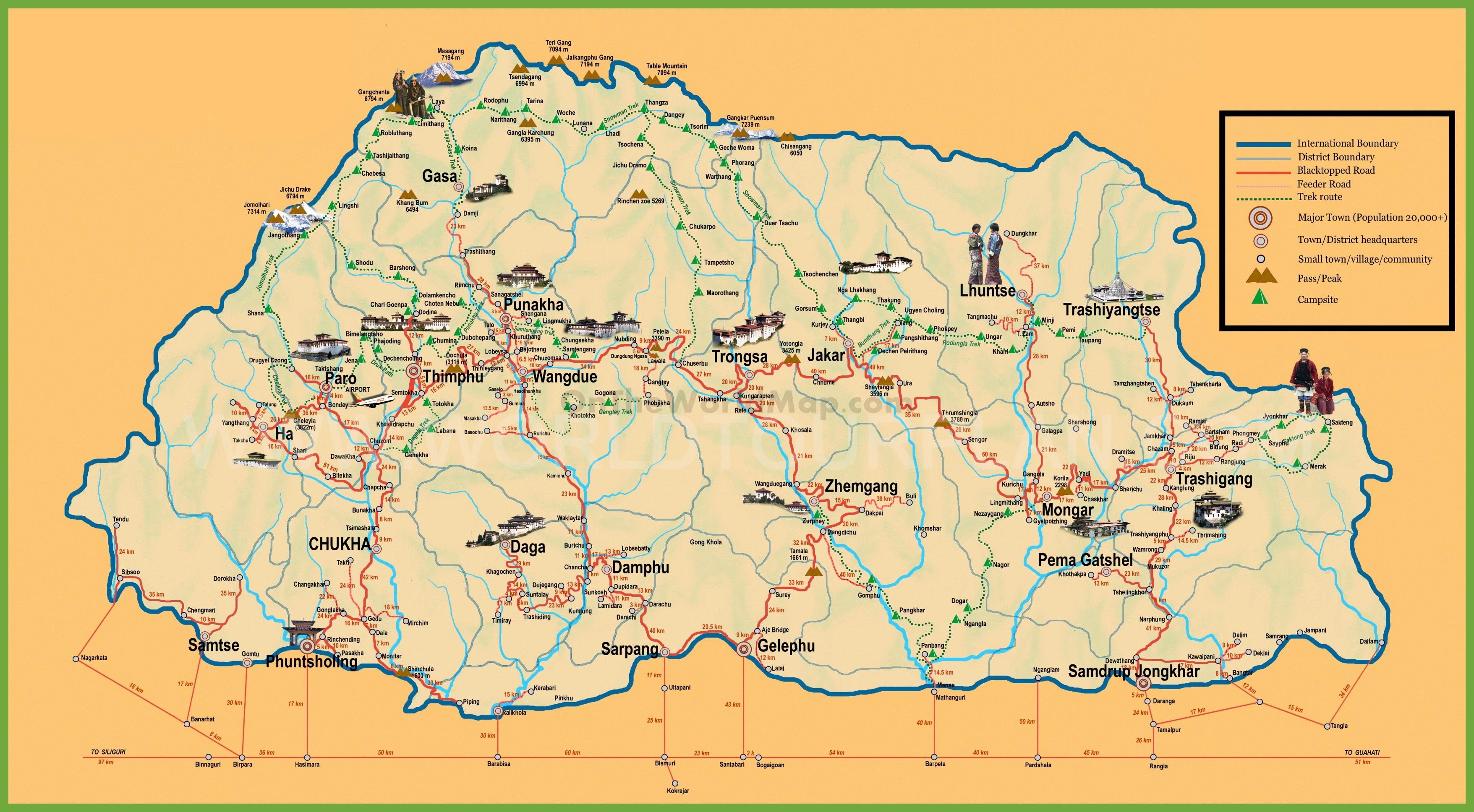 Map Of Bhutan Tourist map of Bhutan