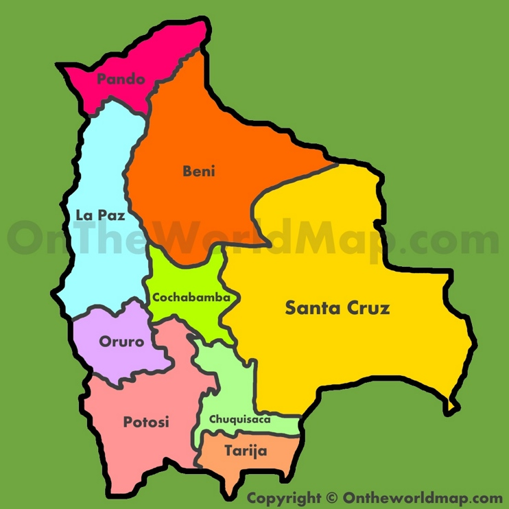 Administrative map of Bolivia