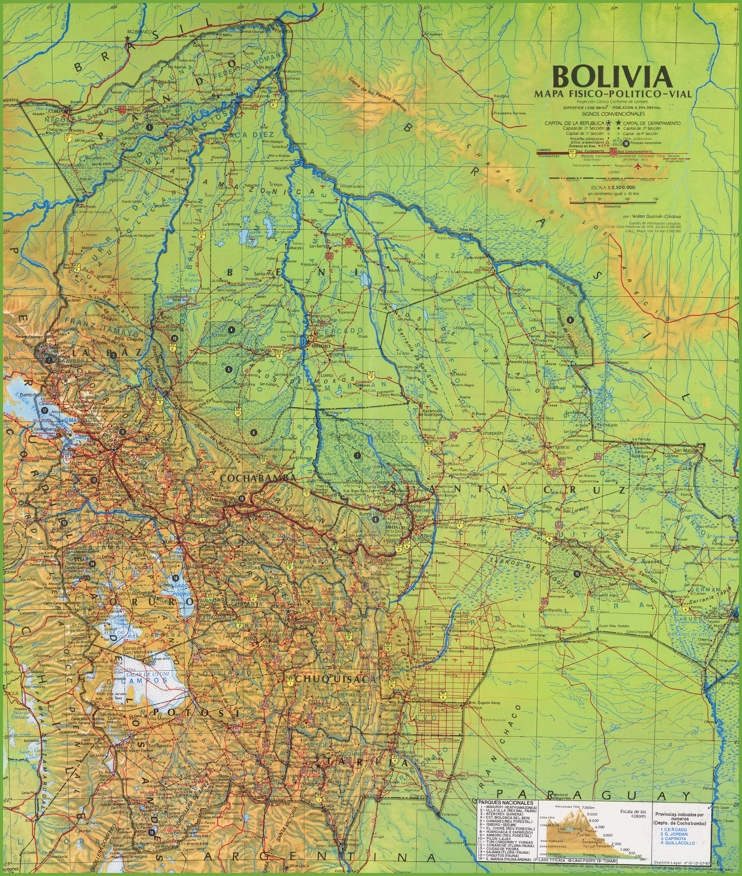 Large detailed map of Bolivia