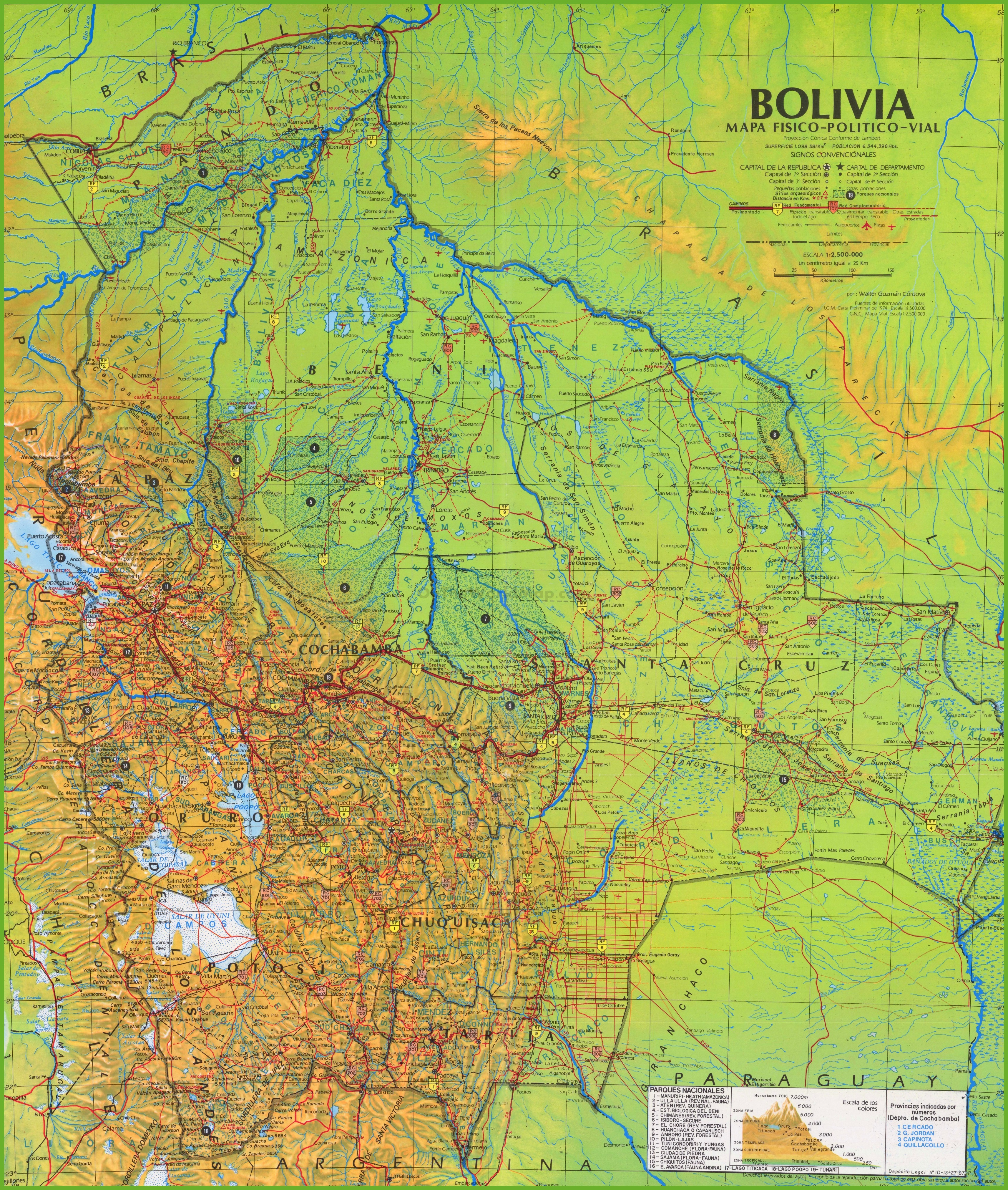 Large Detailed Map Of Bolivia - Detailed map of pa